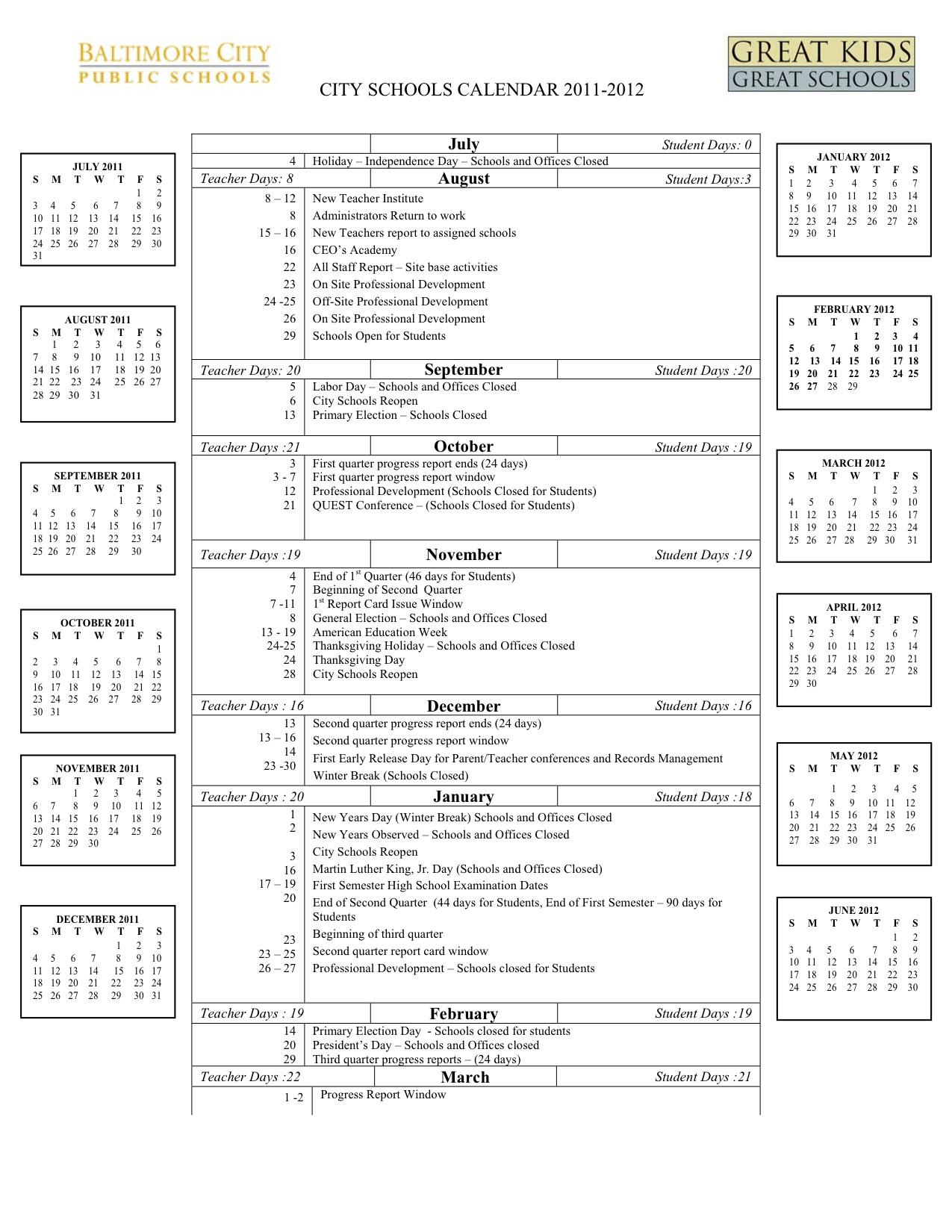 Baltimore City Schools Calendar.2011 2012 School Calendar Western High School Spin Committee